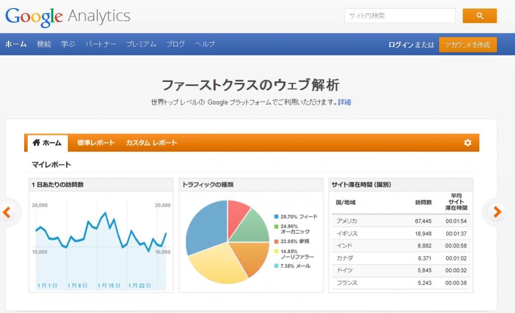 GoogleアナリティクスのTOPページです。