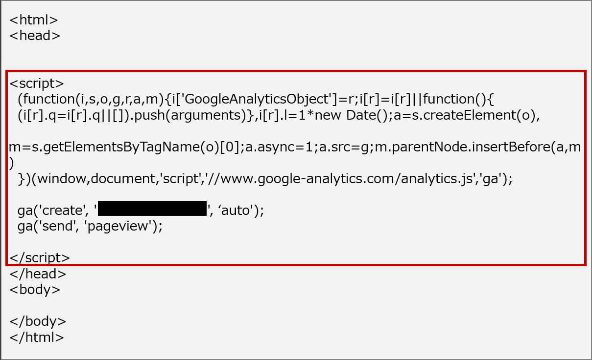 アナリティクス トラッキングコード設置