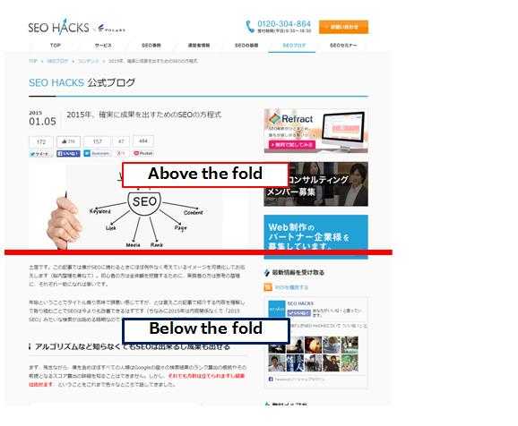 当サイトのキャプチャでAbove the foldを説明、スクロールしなくて見える領域がAbove the fold、スクロールが必要な領域全てがbelow  the foldと呼ばれる