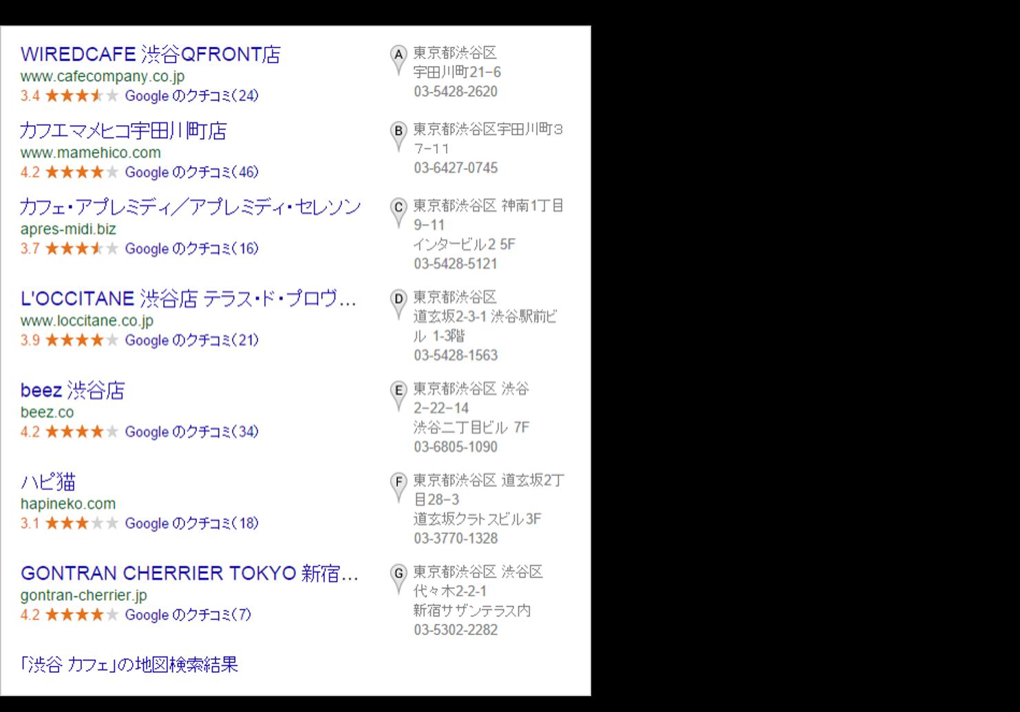渋谷 カフェ 検索結果