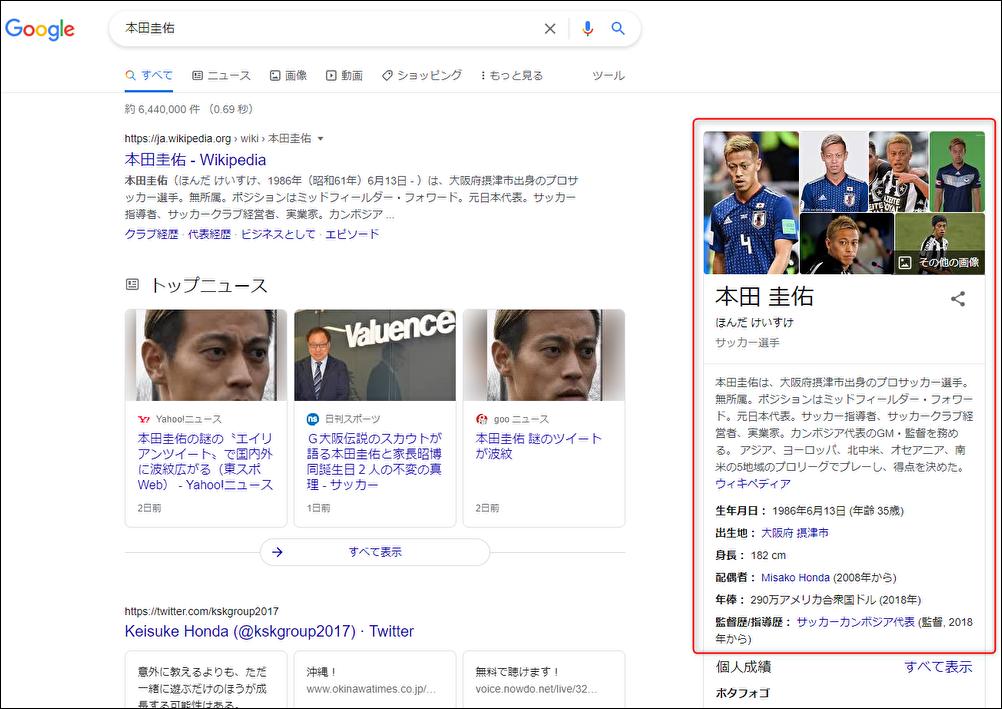 本田圭佑選手の検索結果