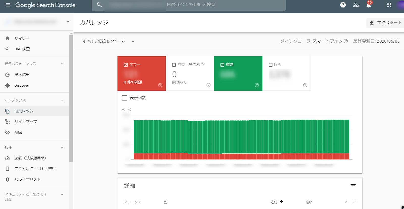 Google research consoleのスクリーンショット