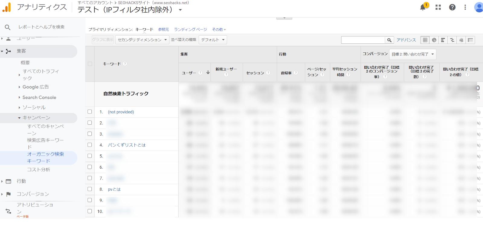 「オーガニック検索キーワード」から、キーワードごとのセッション数、コンバージョン数、直帰率などを確認