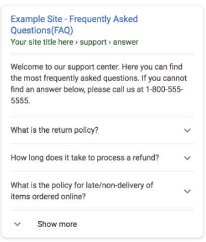 FAQのリッチリザルトのイメージ