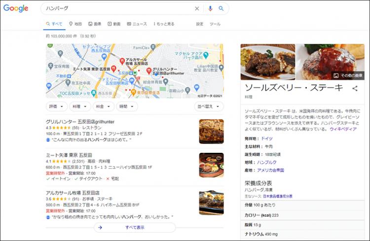 ハンバーグの検索結果に表示されるソールズベリーステーキの画像