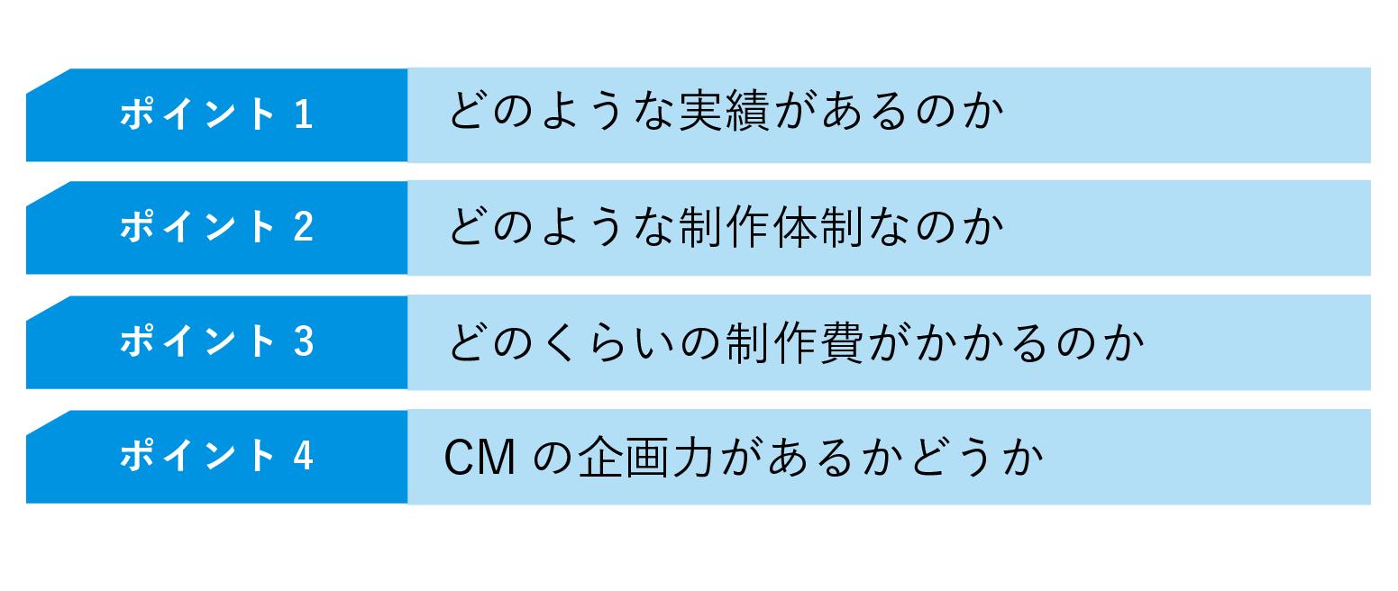 CM制作会社を選ぶ4つのポイント